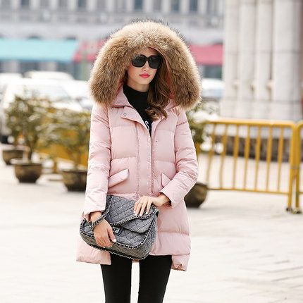 2016 new hot winter Thicken woman Down jacket Coats Parkas Outerwear Hooded Raccoon Fur collar long plus size XL High end Cold 2016 new hot winter thicken warm woman down jacket coats parkas outerwear luxury hooded fox fur collar long plus size xl cold