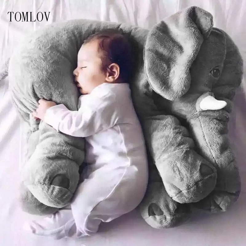 TOMLOV Stuffed Animal Cushion Kids Baby Sleeping Soft Pillow Toy Cute Elephant Cotton comfortable for baby christmas gift cute 45cm stuffed soft plush penguin toys stuffed animals doll soft sleep pillow cushion for gift birthady party gift baby toy
