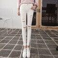 American Apparel Algodón Promoción Boyfriend Jeans Para Mujeres 2016 Nuevo Otoño Coreano Delgado Waisted Jeans Gastados Nueve pantalones Femeninos Del Mendigo