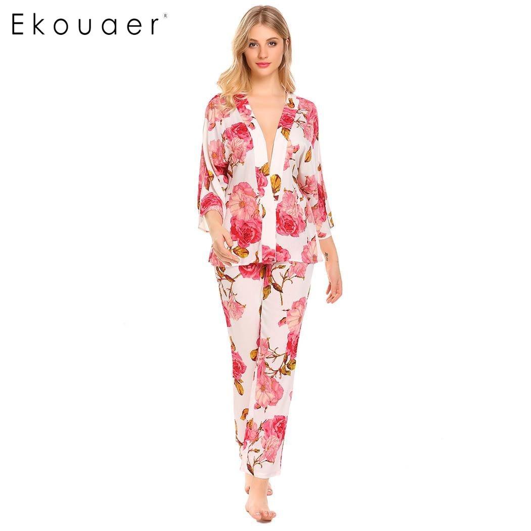 Ekouaer Sexy Women Sleepwear Long Pajamas Set V-Neck 3/4 Wide Sleeve Floral Print Pajamas Spring Autumn Nightwear Home Clothes