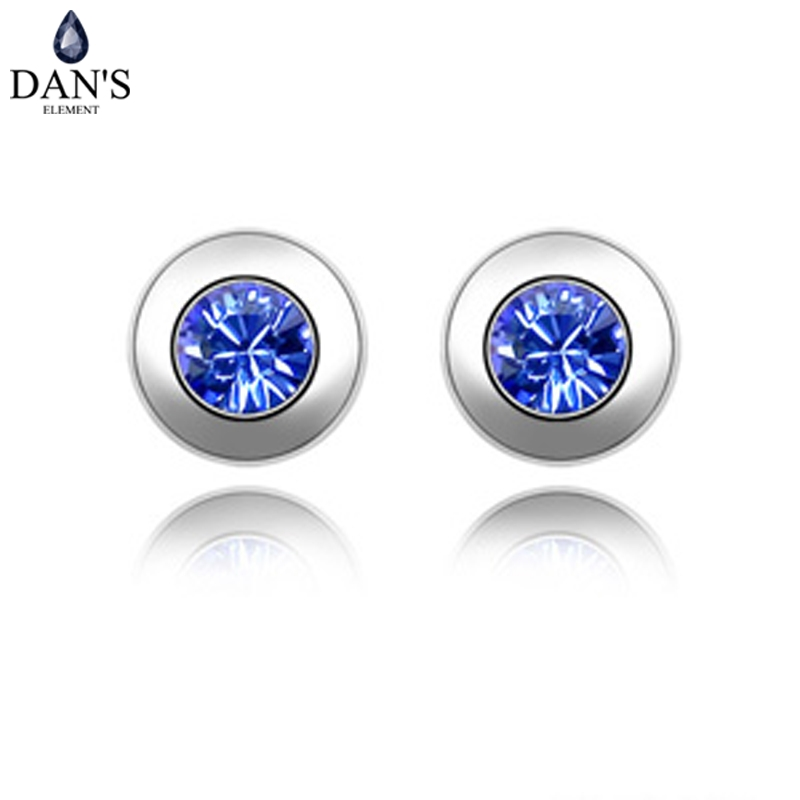 DANS 11 Colors Real Austrian Crystals Brand Stud earrings for women Fashion New Sale Hot #82336Blue