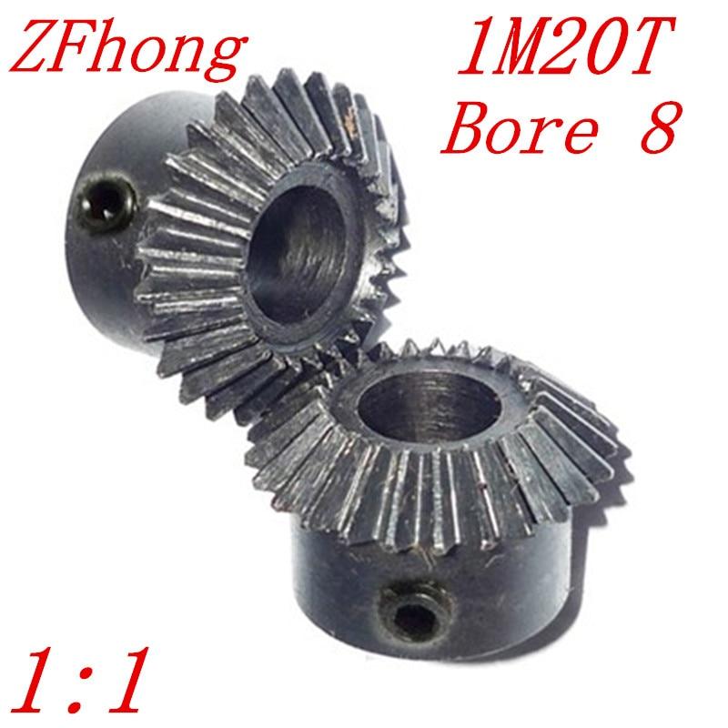 цена на 1 pair 1M20T bore 8 1:1 Metal Bevel Gears 1 Module 20 Teeth With Inner Hole 8mm 90 Degree Drive Commutation