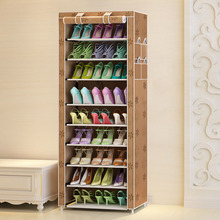 DIY Oxford ผ้าฝุ่นรองเท้าตู้รองเท้า Racks 10 ชั้น 9 กริดรองเท้า Organizer ชั้นเก็บรองเท้าตู้