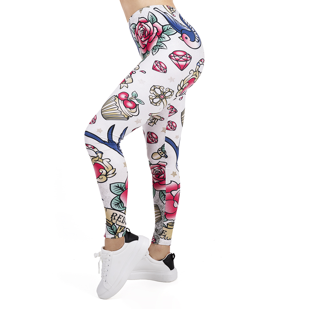Women Legging Valentines Tattoos Printing Leggins Slim High Elasticity Legins Popular Fitness Leggings Female Pants