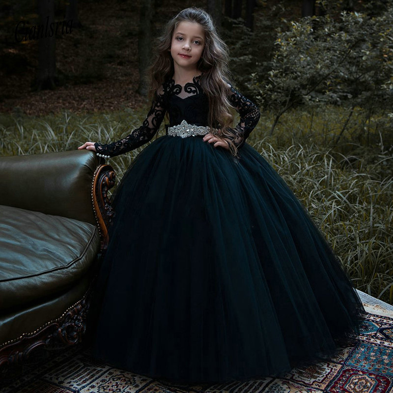 2019   Flower     Girls     Dress   For Wedding Long Sleeves Lace Appliques Ball Gown Elegant   Girls   Birthday   Dress   Pageant Gowns with Bow