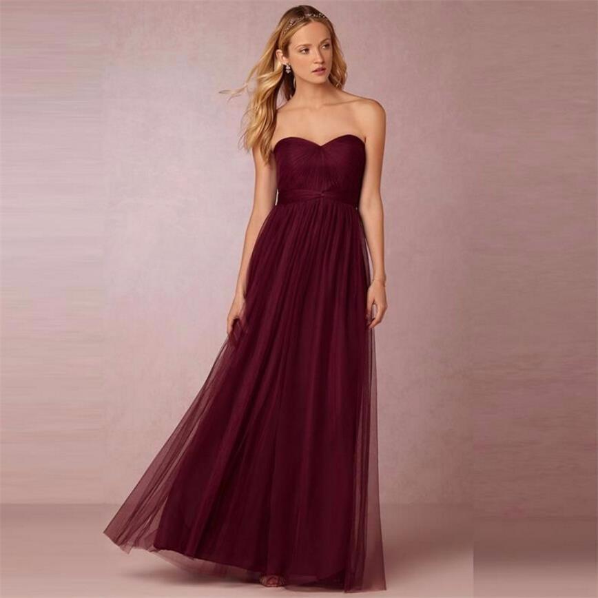 Burgundy Sweetheart Backless A-Line Long Bridesmaid Dress 1