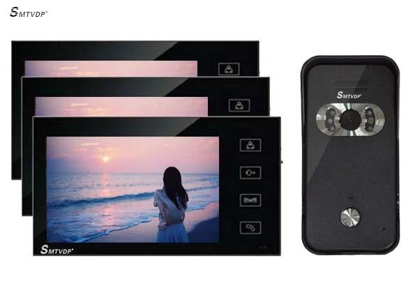 SMTVDP 7 Wired Video Door Phone Audio Visual Intercom Entry System 1V3 For Villa House ...