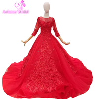 Amazing Design Pretty Turquoise 3d Rose Flowers Wedding Gowns 2019 Puffy Ball Gowns Wedding Dress Red Crystals Bridal Dress
