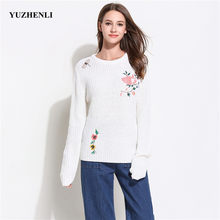 New Autumn Knitting Sweater Women Pullover White Embroidered Flower Bird Knitted Wool Sweater 2018 Fall Winter Women Sweater(China)