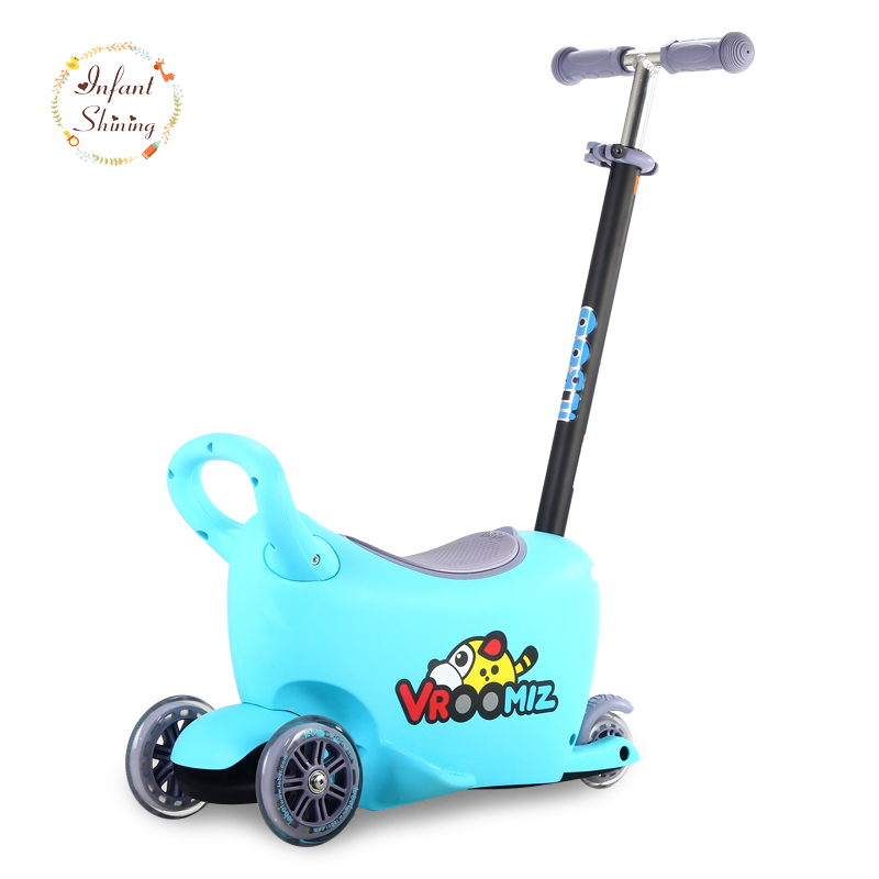 Infant Shining Scooter Multi-function Stroller Applicable 3-5 Years Old Scooter Can Sit Mute Multi-function infant shining swing car mute flash belting leather music environmental quality children s toy car