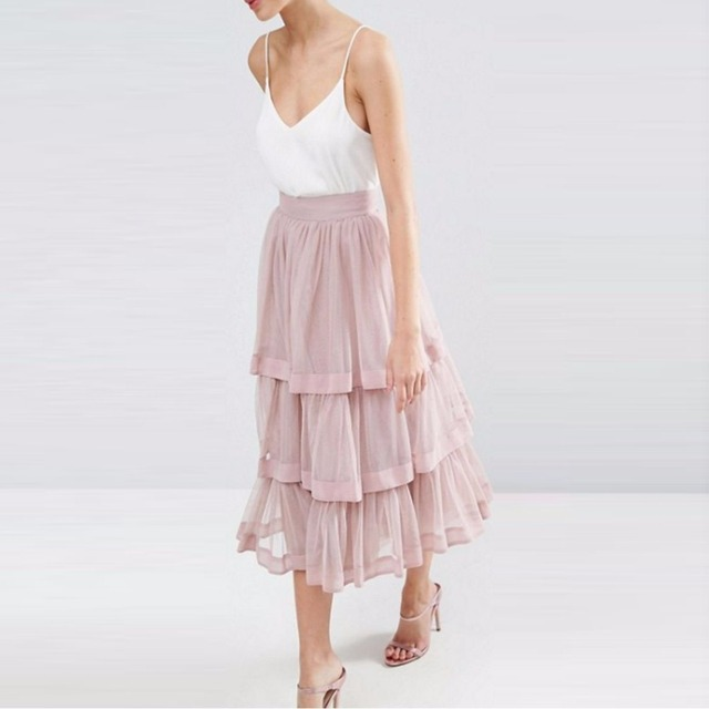 8a319a72d9 Brush Pink Ruffles Skirt Custom Made Ribbon Waistline A Line Tee Length  Midi Skirt Pretty Exquisite Tulle Skirts Women