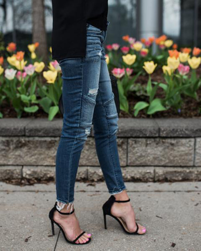 Women Denim Skinny Pants Ripped Destroyed Pleated Stretch Jeans Slim Pencil Trousers 21