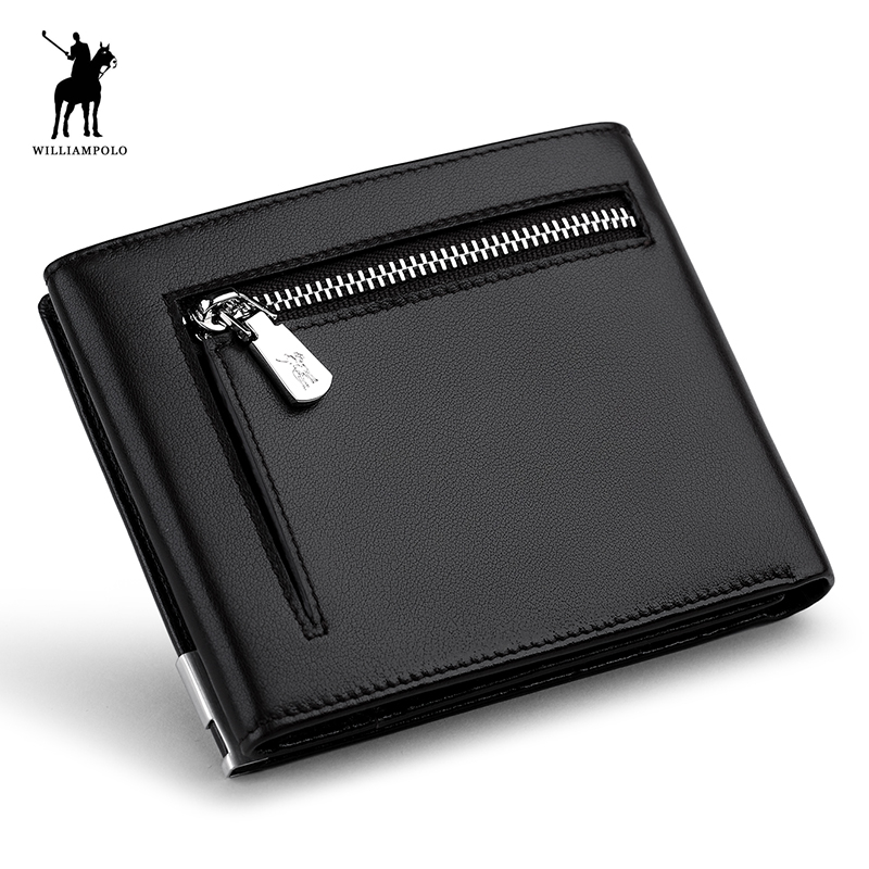 WILLIAMPOLO 2018 New Men Short Wallets Black Brown Bifold Wallet Mens Brand Leather Card Holder Monet Cash Wallet Purses POLO222