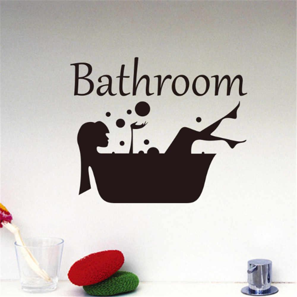 Preto flor videira menina adesivo de parede do banheiro adesivos para portas casa banho chuveiro quarto arte decoração z0523 # g30