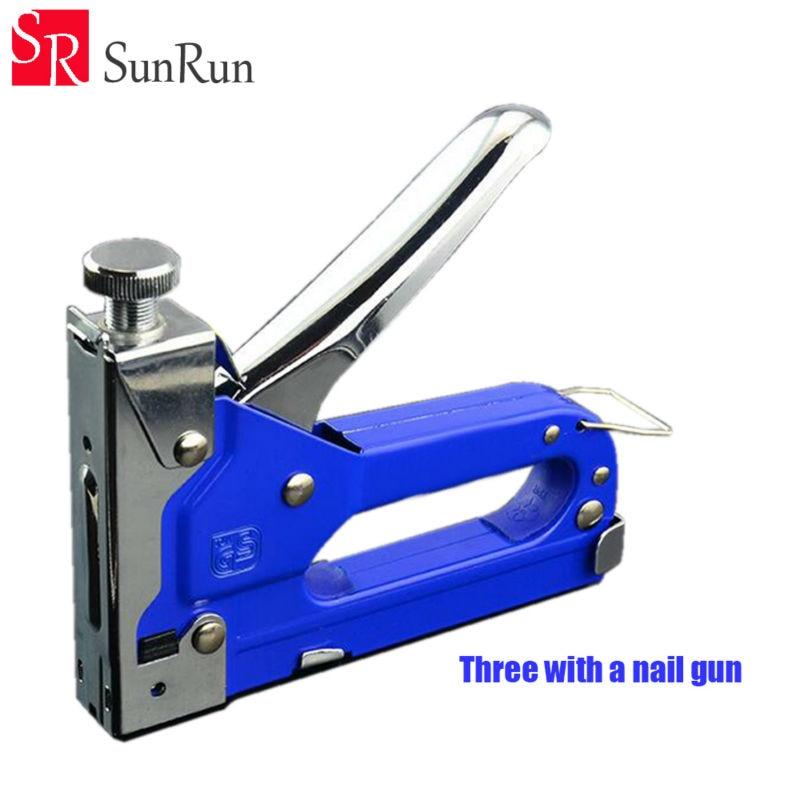 Livraison Gratuite Trois wiht un nail gun outil code nail U type droite cloueuse cloueuse bois outil avec 3000 pièce nail