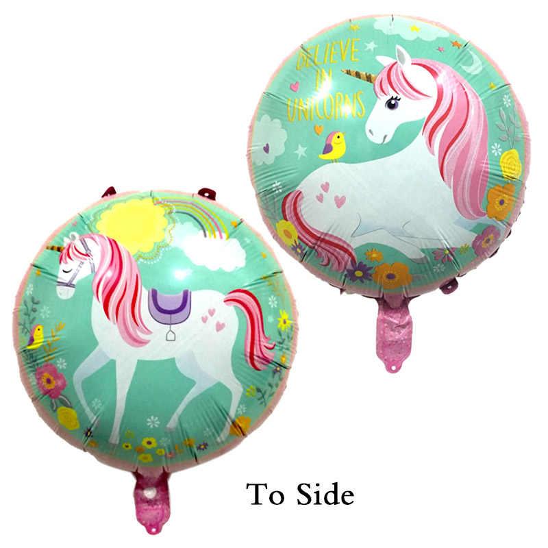 1 шт./партия воздушные шары в форме единорога 18 дюймов звезда круглый воздушный шар Декор для вечеринки в честь Дня рождения Дети Радуга воздушные шары Единорог вечерние поставки