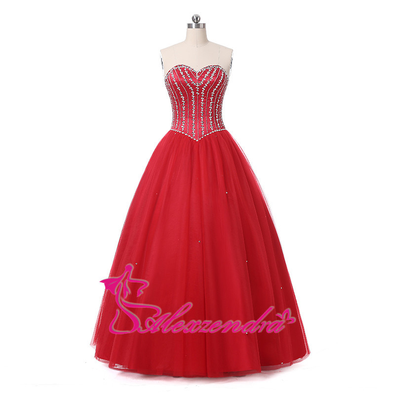 Alexzendra Red Beaded Long Ball Gown   Prom     Dresses   Girl's   Dress   Party   Dresses   Customize