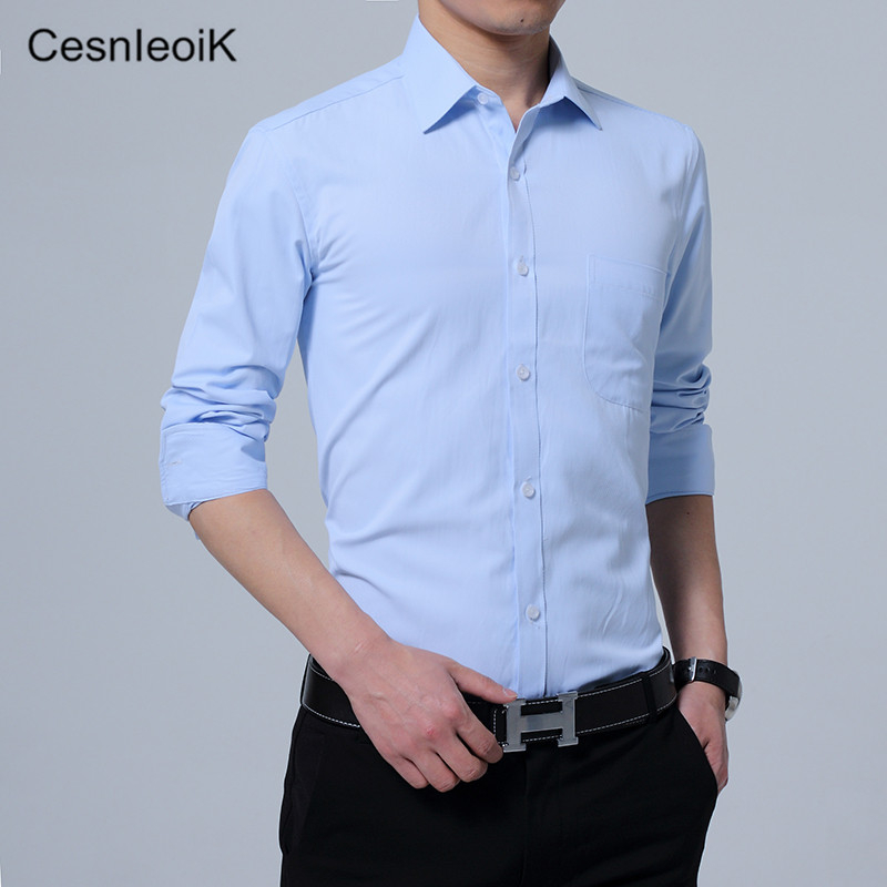 10 Colors M 5xl Spring Autumn Dress Shirts Mens Formal Long Sleeve Brand Male Blue White With Pocket X409 In From Men S Clothing