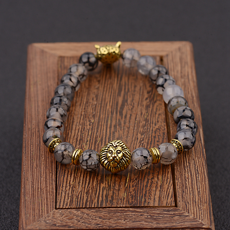 Amader Luxury Men's Trendy Golden Lion Heads Beads Bracelets Healthy Energy Stone Yoga Bracelet AB525