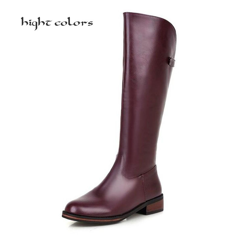 Brand Ladys High Heel Shoes Women Autumn Winter Motorcyle Boots Natural Wool Women Shoes Warmful High Quality Knee High Boots