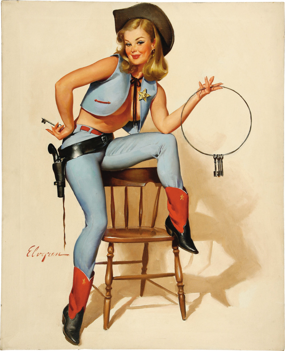 sexy cowgirls gun pop pin up vintage poster classic retro kraft decorative maps wall sticker. Black Bedroom Furniture Sets. Home Design Ideas