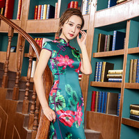 New Autumn Cheongsam Chinese Traditional Dress Green Double Silk Vintage Short Sleeve Stand Neck Qipao With
