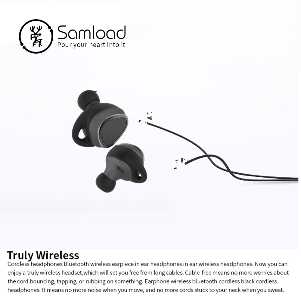 Samload Bluetooth Earphones TWS Wireless Headset Noise Cancelling Sports Music Earbuds with Mic and Portable Charging Box