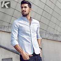 2016 Autumn Fashion Mens Casual Shirts 100 Cotton Blue Striped Famous Brand Clothing Long Sleeve Slim