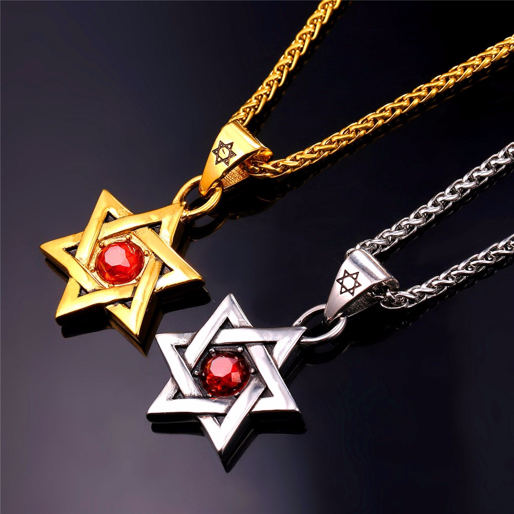 HTB1 cLqJVXXXXb.XVXXq6xXFXXXD - Star of David Pendant with Red Stone