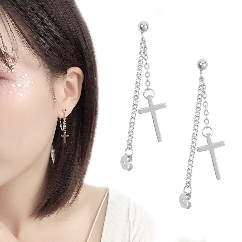 925 Solid Sterling Silver Cross Tassel Charm Drop Earrings for Women Jewelry Party Accessories pendientes Brincos eh1034 3