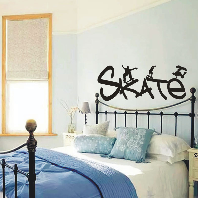 Roller Skating Youth Vinyl Removable Wall Decals Home Decor Wall Sticker For Kids Rooms - Boy Bedroom Decorations High Quality