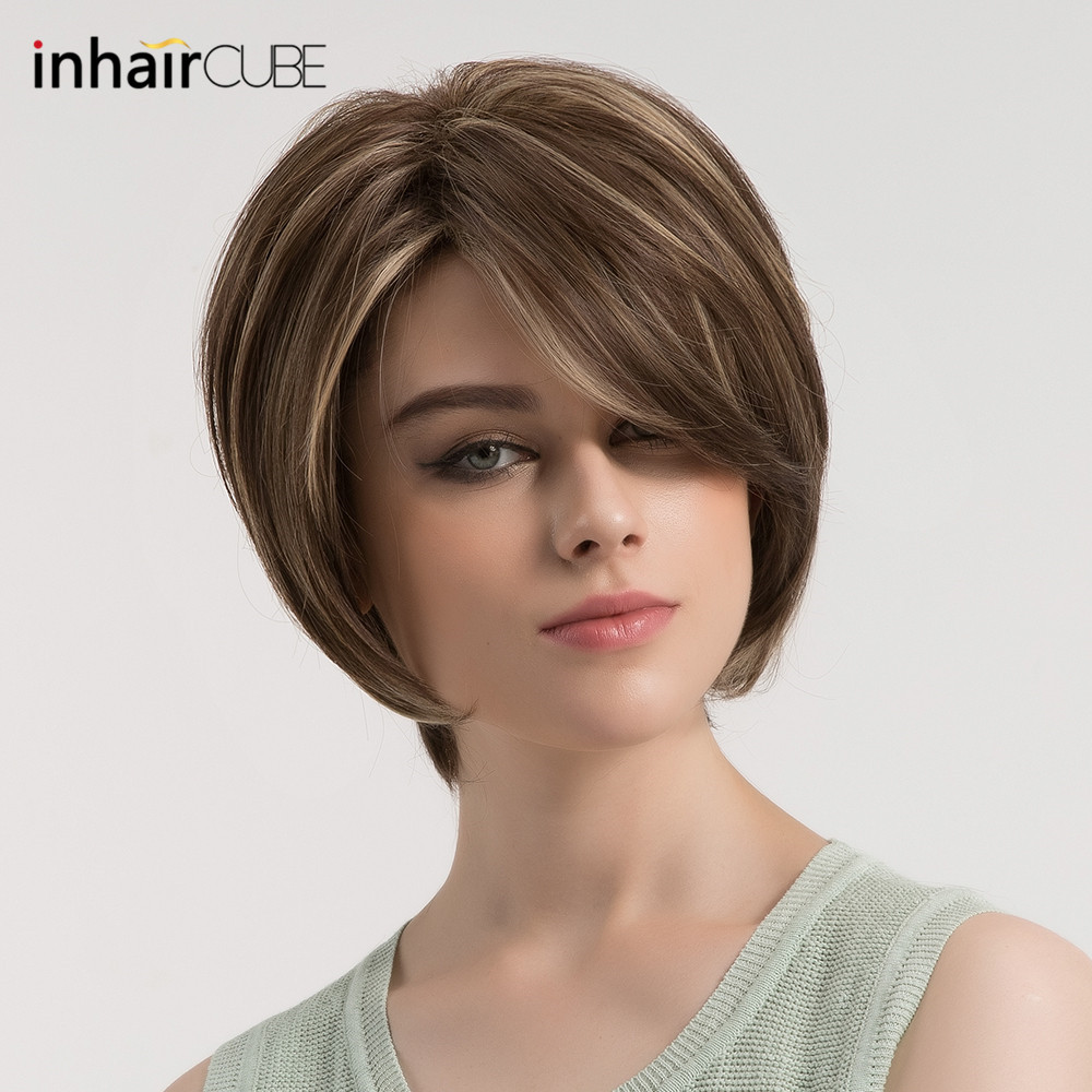 Esin Short Straight Hair Wig with Side Parting Dark Brown Hair Blonde  Highlights Synthetic Fluffy Layered Haircuts Women s Wig c92a5efe45