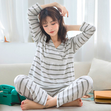 Купить с кэшбэком Spring New Fashion Soft Gray Striped Cotton Maternity Pajamas Comfortable Nursing Nightgown Breastfeeding Pregnancy Pyjama A324