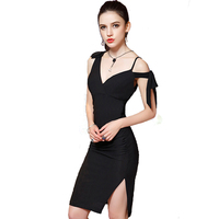 Japan Style Summer Sexy Women Youth Dress 2017 Bow Cold Shoulder Plunge Slim Slit Slid Wrap