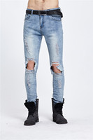 Mens Vernietigd Slim Fit Lichtblauw Hiphop Jeans Patchwork Hole Ripped Zuur Gewassen Punk Rock Stijl Denim Enkel Rits Jeans