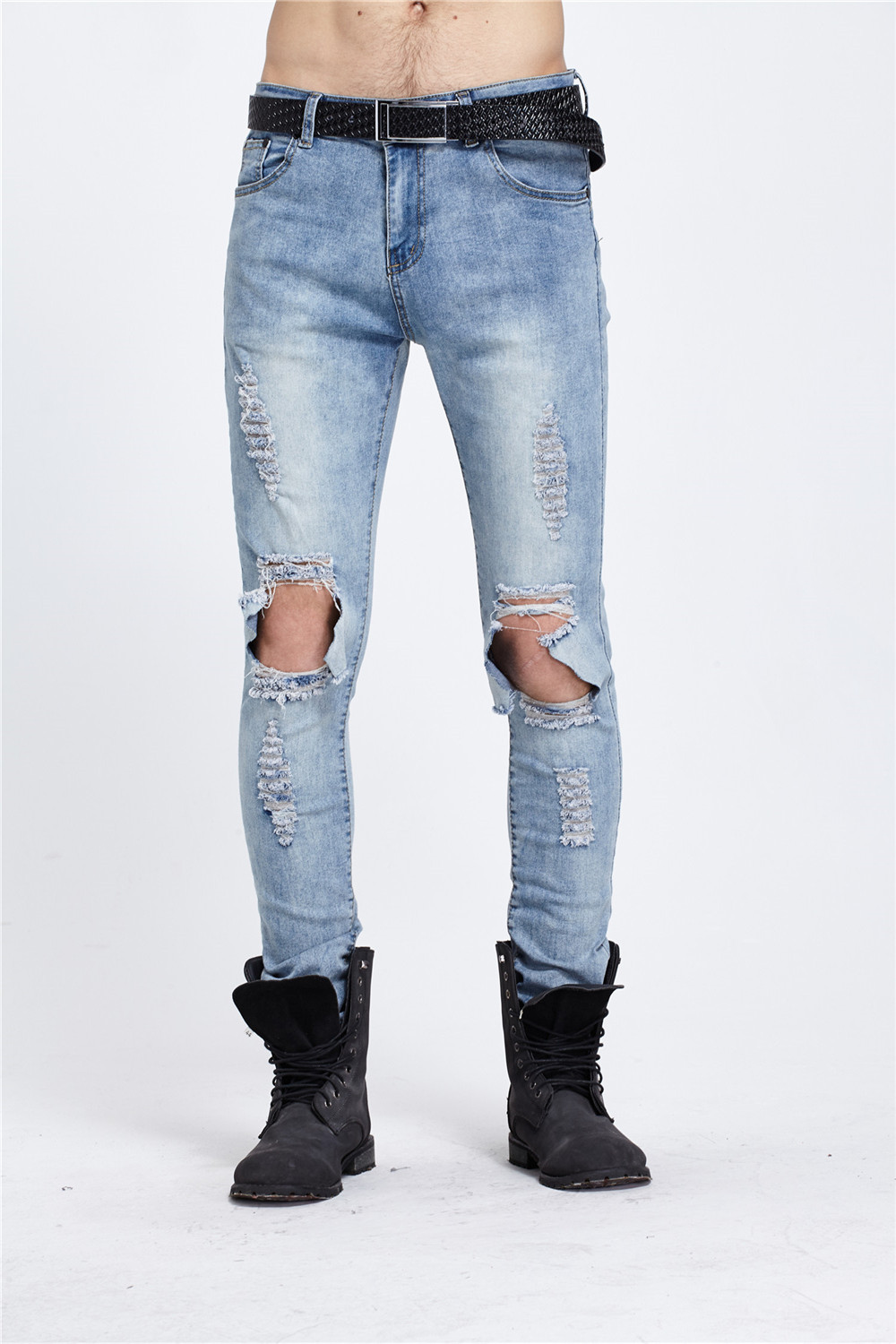 Mens Destroyed Slim Fit Light Blue Hip Hop Jeans Patchwork Hole Ripped Acid Washed Punk Rock Style Denim Ankle Zipper Jeans 2017 brand ripped hole jeans for men mens hip hop zipper biker denim pants palace hombre destroyed rock jeans slim fit trousers