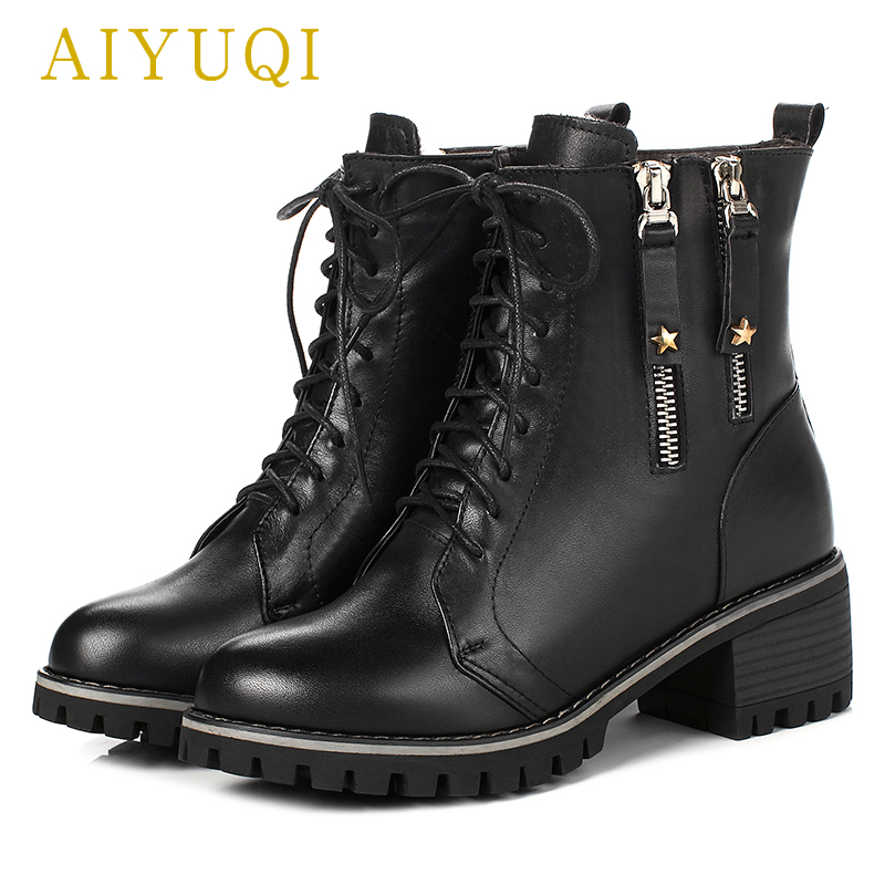 AIYUQI Ladies boots for winter 2018 new genuine leather ladies ankle boots,Wool warmth women martin boots big size 41 42 43 chic fringed edge tartan pattern warmth big square pashmina for women