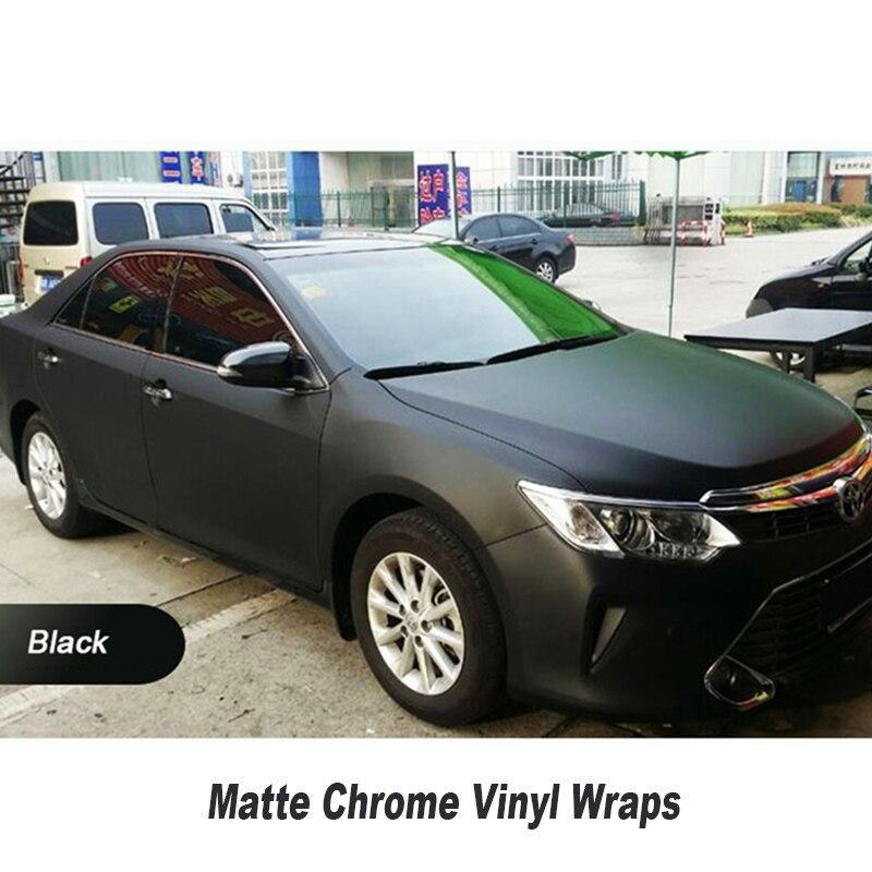 Новый хром матовый черный полимерных ПВХ матовый хром винил автомобильный обертывания Стикеры Цвет изменение автомобиля Стикеры с воздушн