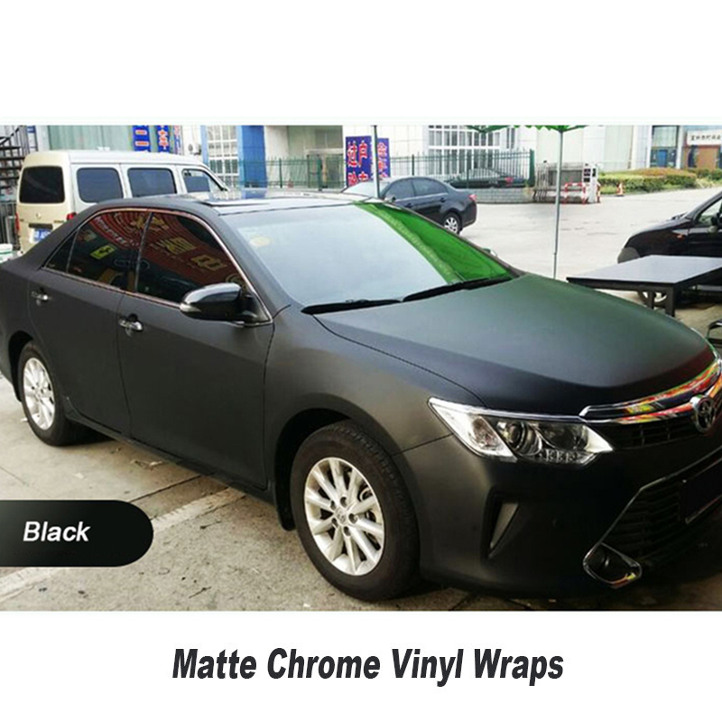 New Chrome matte Black Polymeric PVC Matte Chrome Vinyl Car Wraps Sticker Color Changing Car Sticker With Air Bubble Car Styling 152cmx18m premium polymeric pvc light blue ice matte chrome vinyl film car styling wraps whole body stickers with air channel
