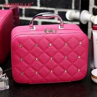 DOPPULLE Luxury Women Bling Cosmetic Case Rivet Rhinestone Makeup Box Professional Tote Cosmetic Bag Beauty Case