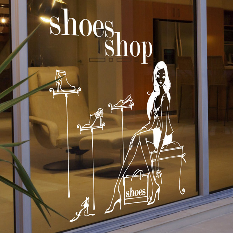 Car Shoes Shop Decal Sexy Lady Girls Glass Wall Sticker