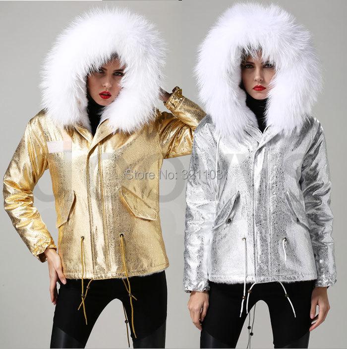 2016 Mrs Winter Jacke Short Style Large Waschbär Pelzkragen Slim - Damenbekleidung