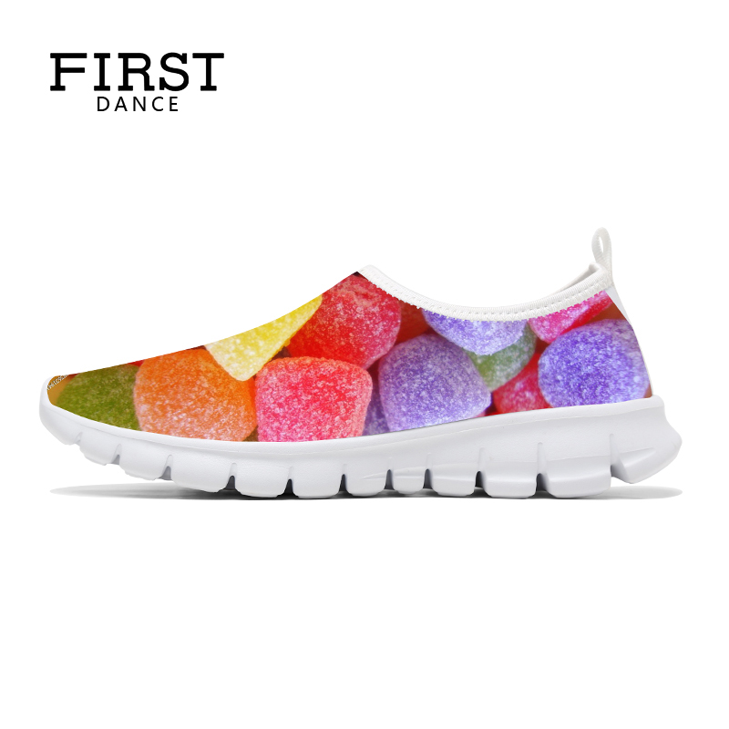 FIRST DANCE Fashion Candy Printed Women Shoes Breathable Female Casual Slip On Shoes Woman Loafers Outdoor Walking 3D Chaussure women sneakers light weight 2018 41 woman casual shoes slip on lazy shoes comfortable candy color breathable net shoe