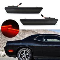 2x Smoked Lens Rear Side Marker Lamps with 24 SMD Red LED Lights For For 08 14 Dodge Challenger,11 14 Charger