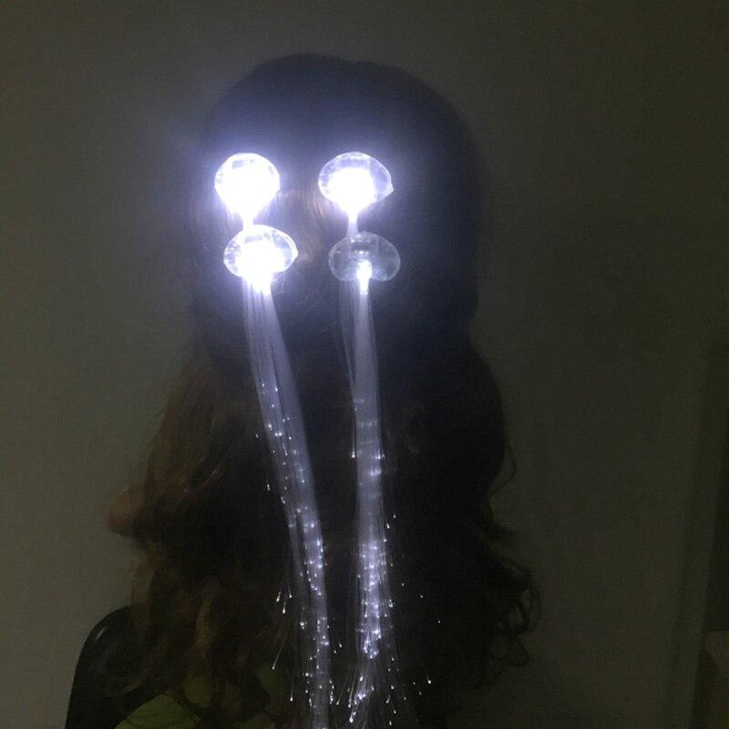Ev ve Bahçe'ten Kızdırma Parti Malzemeleri'de 100 adet Glow Saç Örgü Beyaz LED saç tokası Işık Yayan Fiber Optik Tel Firkete Aydınlık Örgüler led parti düğün dekorasy'da  Grup 2