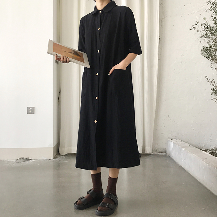 Spring Summer Buttons Shirt Dress Casual Kawaii Vintage Style Long Dress Robe Longue Vestido Largo Vestiti Lunga by Garate Ama Duan
