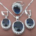 Blue  Stone Zirconia For Women    925 Sterlig Silver Jewelry Sets Necklace Pendant Drop Earrings Rings Free Shipping TS004