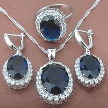 Azul Piedra Zirconia Para Mujeres 925 Sistemas de La Joyería de Plata Sterlig Collar de Gota Colgante Pendientes Anillos Envío Libre TS004