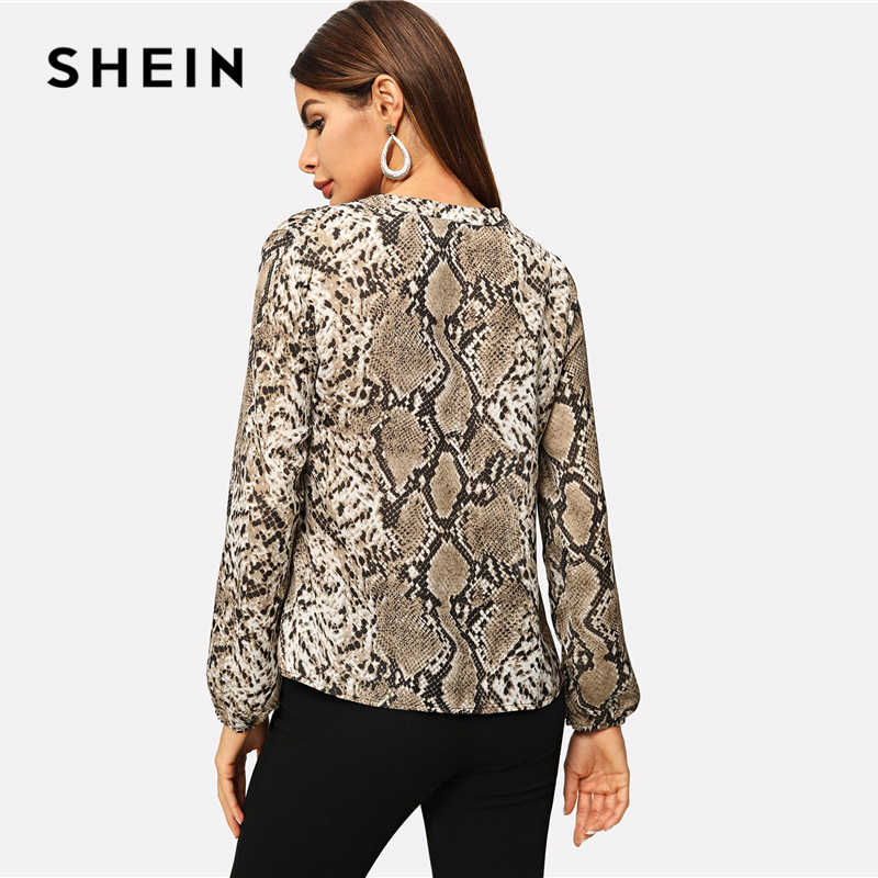1aa697f02ff ... SHEIN Multicolor Office Lady Elegant Snakeskin V-neck Long Sleeve  Workwear Blouse Autumn Women Modern ...