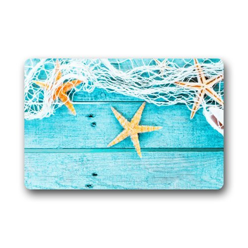 Starfish and Light Blue Wood Pattern Doormats Floor Mat Door Mat Rug Indoor/Outdoor Mats Welcome Doormat 23.6(L) x 15.7(W)